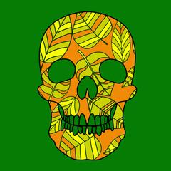 orange leaves skull vector art on green background