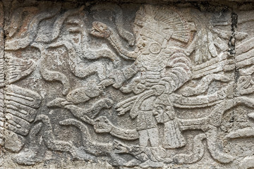 Mayan stone carving of a king