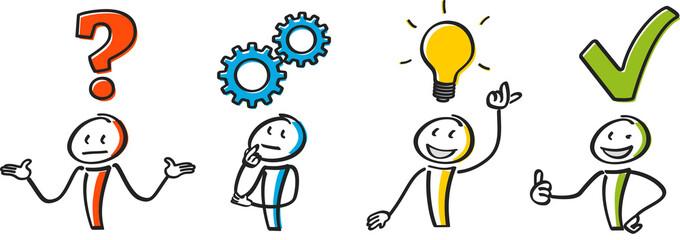 Strichmännchen problem kreative Idee Entwicklung zoom
