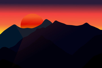 Mountains in the fog. Seamless background. Bright evening sunset vector