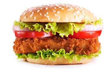fish burger isolated on white background