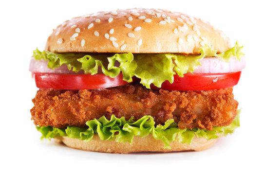 fish burger isolated on white background
