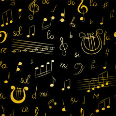 Seamless Pattern of Hand Drawn Music Symbols.  Golden Doodle Treble Clef, Bass Clef, Notes and Lyre. Vector Illustration.