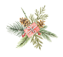 Watercolor vector Christmas bouquet with gift, pine cone and fir branches.