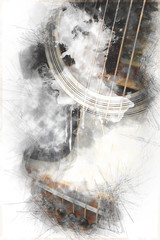 Abstract beautiful playing Guitar in the foreground, Watercolor painting background and Digital illustration brush to art.