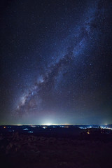 Panorama vertical Milky way galaxy with knob stone ground is name Lan Hin Pum viewpoint at Phu Hin Rong Kla National Park in Phitsanulok, Thailand