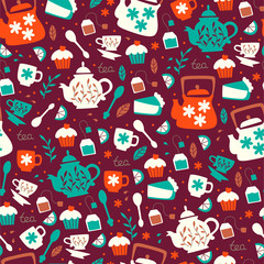 Seamless Pattern with Tea Elements. Hand Drawn Vector Illustration.