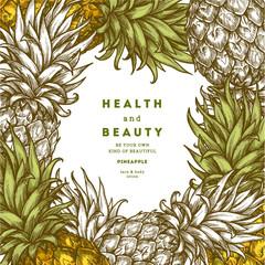 Pineapple fruit vintage design template. Botanical fruit. Engraved pineapple. Vector illustration