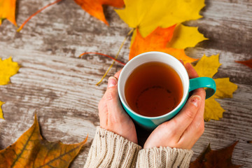 a hot Cup of tea in the hands of the girls. Autumn leaves.