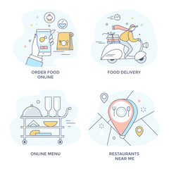 Order food online icons, perfect for mobile application,   line flat design