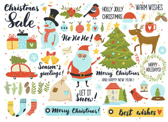 Christmas and New Year's set, hand drawn elements - calligraphy, Santa, snowman, deer, fur-tree, ornaments, wreath and other. Perfect for web, scrapbooking, card, poster, tag, sticker kit.