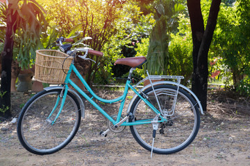 Picture of green  bicycle with basket standing in the field.Vintage tone with sunlight effect picture