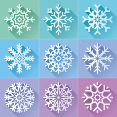 Snowflakes icon set in flat style on color background. Ice crystal. Vector winter design element for you Christmas and New Year's projects