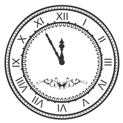 Round watch dial at five minutes to midnight. New Year Eve roman numerals