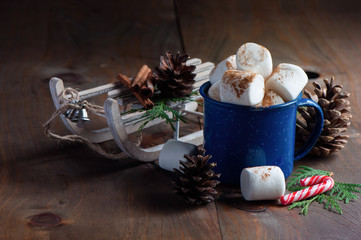 Hot chocolate and marshmallow, Christmas holiday drink, selective focus, toned image