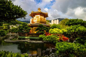 Nan Lian garden with golden pavilion, Hong Kong. A public chinese classical park in Diamond Hill, Kowloon