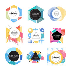 Colorful abstract design logo set, geometric shape signs vector Illustrations