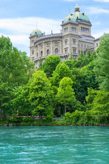 Federal Palace Bundeshaus in Bern, Switzerland. Part of the Parliament Building Swiss, Bern, Switzerland.  Aare River