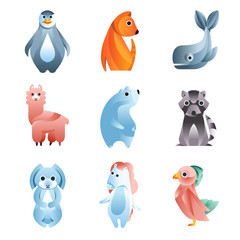 Animals in a geometric flat style with the use of gradients and smooth shapes set of colorful vector Illustrations