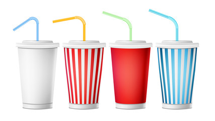 Soda Cup Template Vector. 3d Realistic Paper Disposable Cups Set For Beverages With Drinking Straw. Isolated On White Background. Packaging Illustration