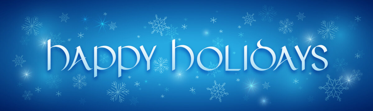 HAPPY HOLIDAYS uncial calligraphy with stars and snowflakes