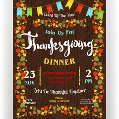 Thanksgiving dinner poster template with border from autumn leaves and flags garland.