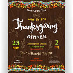 Thanksgiving dinner poster template with colorful garlands with autumn leaves and doodle details.
