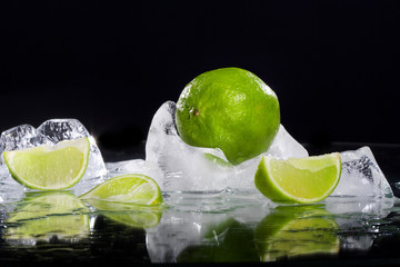 lime frozen in ice