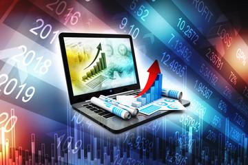 Business analyze. Laptop, graph and diagram. Stock market Concept. 3d render