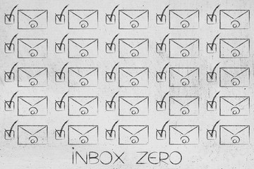 group of email envelopes ticked off