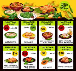 Vector menu for Malaysian cuisine restaurant