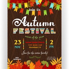Autumn festival poster template with ornate letters, colorful fall season leaves and flags.