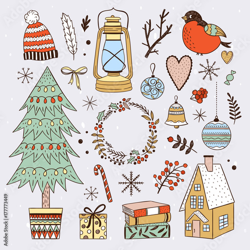 Christmas Illustrations.Winter Elements And Christmas Illustrations Cozy Winter