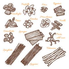 Vector sketch icons of Italian pasta sorts