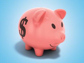 Money Piggy Bank 3d render on blue background