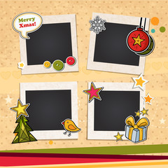 Decorative vector template frame. This photo frame you can use for kids picture or memories. Scrapbook design concept. Insert your picture. Merry Christmas and Happy New Year