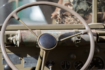 Cassano Magnago, Italy - October 8, 2017: Steering Wheel of a United States Military Vehicle