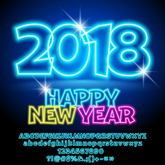 Vector colorful Neon Happy New Year Greeting Card with set of Letters, Symbols and Numbers. Font contains Graphic Style