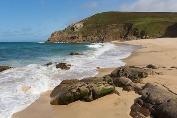 Fototapete - Portheras beach Cornwall secluded beach on the Cornish coast South West of St Ives with blue sea and sky