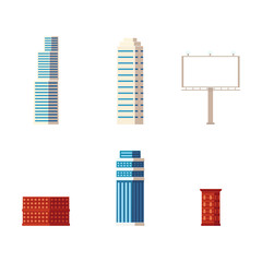 vector flat cartoon different buildings set. Skyscrapers, office centers shopping mall and city apartment houses and illuminated empty billboard. Isolated illustration on a white background