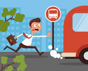 Hurry anxiety stressed office worker businessman character running after bus. Lateness concept. Vector flat cartoon illustration