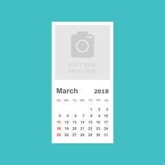 March 2018 calendar. Calendar planner design template with place for photo. Week starts on sunday. Business vector illustration.
