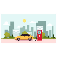 Flat vector illustration of a electric car charging at the charger station. Electromobility e-motion concept