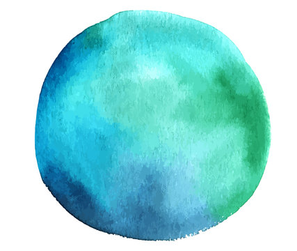 Vector and watercolor teal blue abstract design element