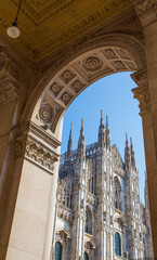 MILAN, ITALY, OCTOBER 13, 2017 - Particular view of famous Milan Cathedral (Duomo di Milano), in Duomo Square, Italy.