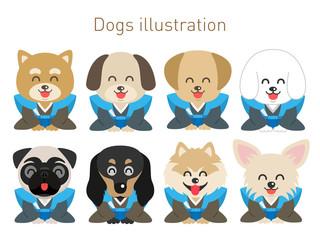 犬のイラストセット(お正月笑顔Ver)