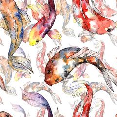 Exotic goldfish wild fish pattern in a watercolor style. Full name of the fish: goldfish. Aquarelle wild fish for background, texture, wrapper pattern or tattoo.