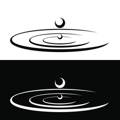 Icon water drop forming a circle of water. Vector illustration.