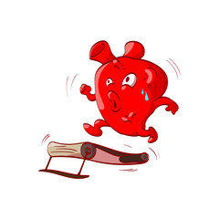 Colorful vector illustration of a cartoon anatomical heart exercising on a treadmill