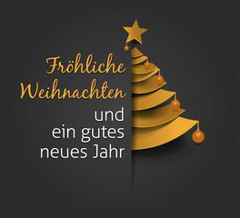 Fröhliche Weihnachten und ein gutes neues Jahr.  Creative Christmas tree. Merry christmas greeting card.